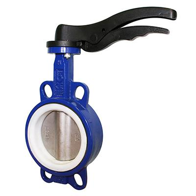 Butterfly Valve - Wafer Pattern with PTFE Liner and Stainless Steel Disc LV9927
