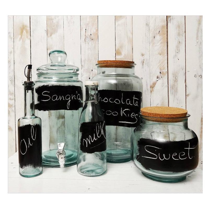 Damigiana in vetro cilindrica 12 litri  - + rubinetto e pittura ardesia
