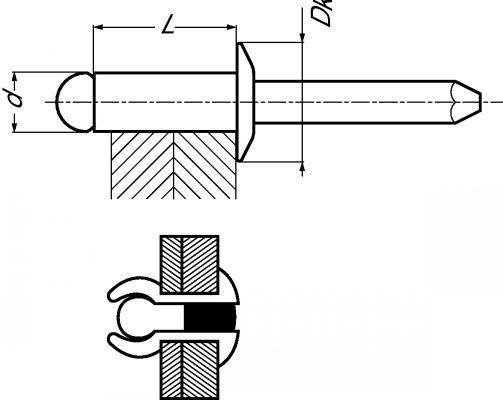 RIVET TÊTE PLATE TOUT INOX INOX A2 - ISO 15983 (219720)