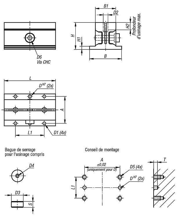 Étau de bridage de forme carré - Éléments de bridage et d'ajustement
