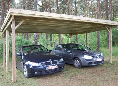 Abri voiture double - Toit plat