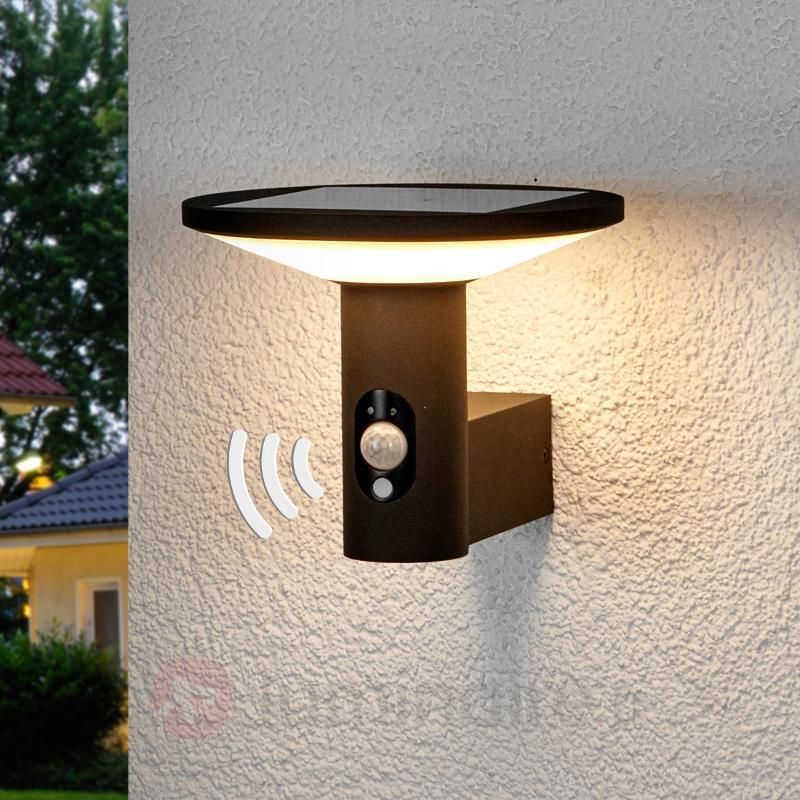 Applique d'extérieur LED ronde Jersy, pan. solaire - Lampes solaires avec détecteur
