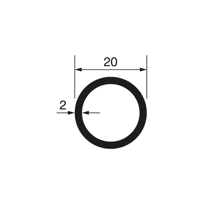 Round tube Ø 20x2 mm, anodized - Tubes