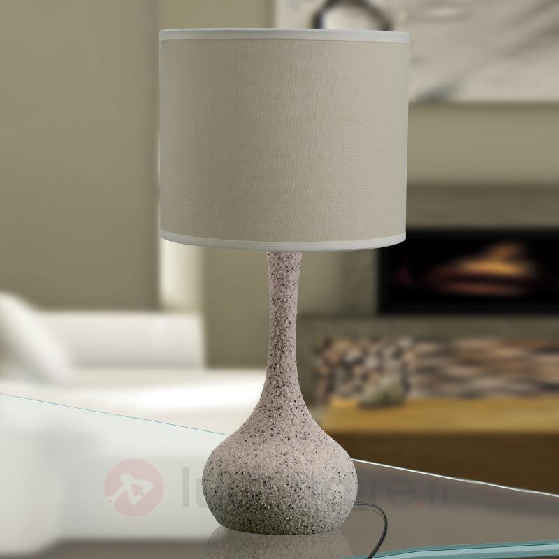 Lampe à poser Liah en tissu, pied en céramique - Lampes à poser en tissu