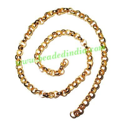 Gold Plated Metal Chain, size: 2x6mm, approx 21.6 meters in  - Gold Plated Metal Chain, size: 2x6mm, approx 21.6 meters in a Kg.