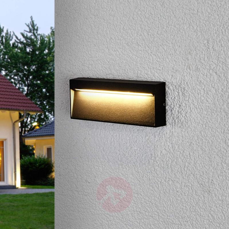 Angular LED outdoor wall light Jamison, dark grey - outdoor-led-lights