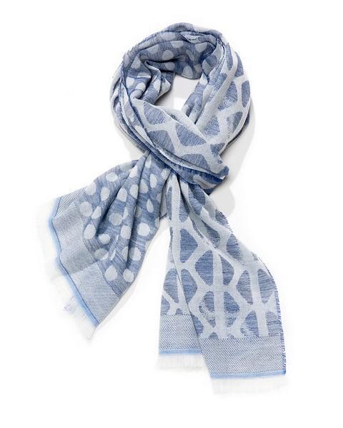 Etole jacquard pois et motif - col 4 – bleu