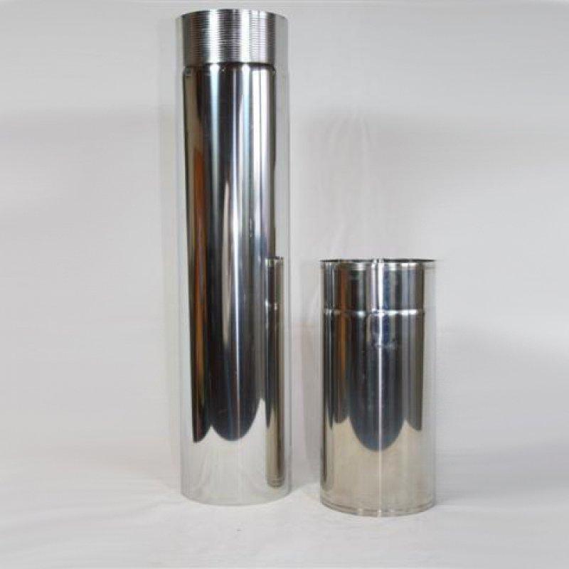 Ofenrohr aus glänzendem Edelstahl (V4A)