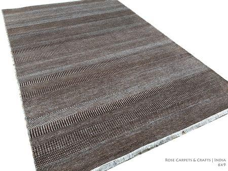 Indian Hand Knotted Contemporary Rug in Wool & Silk - Hand Knotted Contemporary Style Carpet in Wool & Viscose Silk Pile in size 6x9