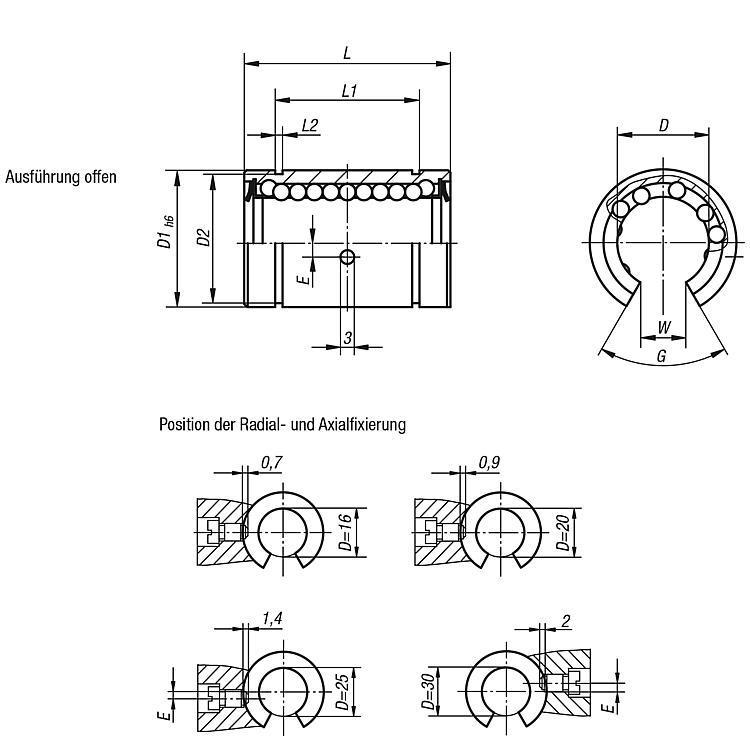 Systeme und Komponenten für den Maschinen und Anlagenbau - Linearkugellager mit Kunststoffkäfig