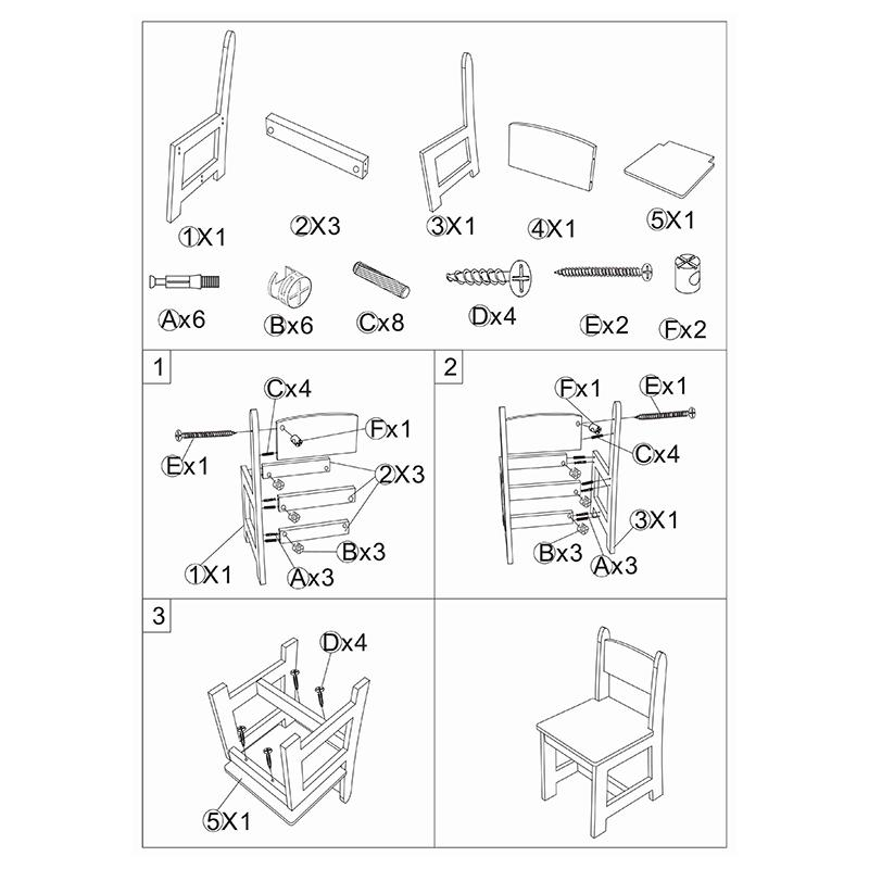 Wooden chair - White wooden chair kit for children