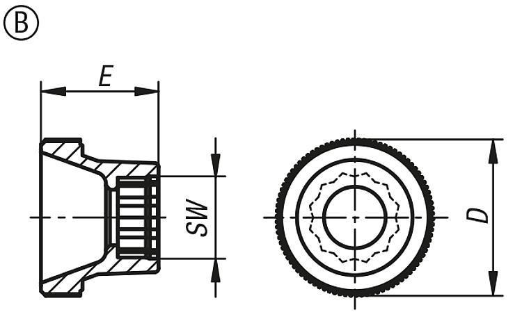 Tête moletée pour vis à tête hexagonale - Poignées et boutons