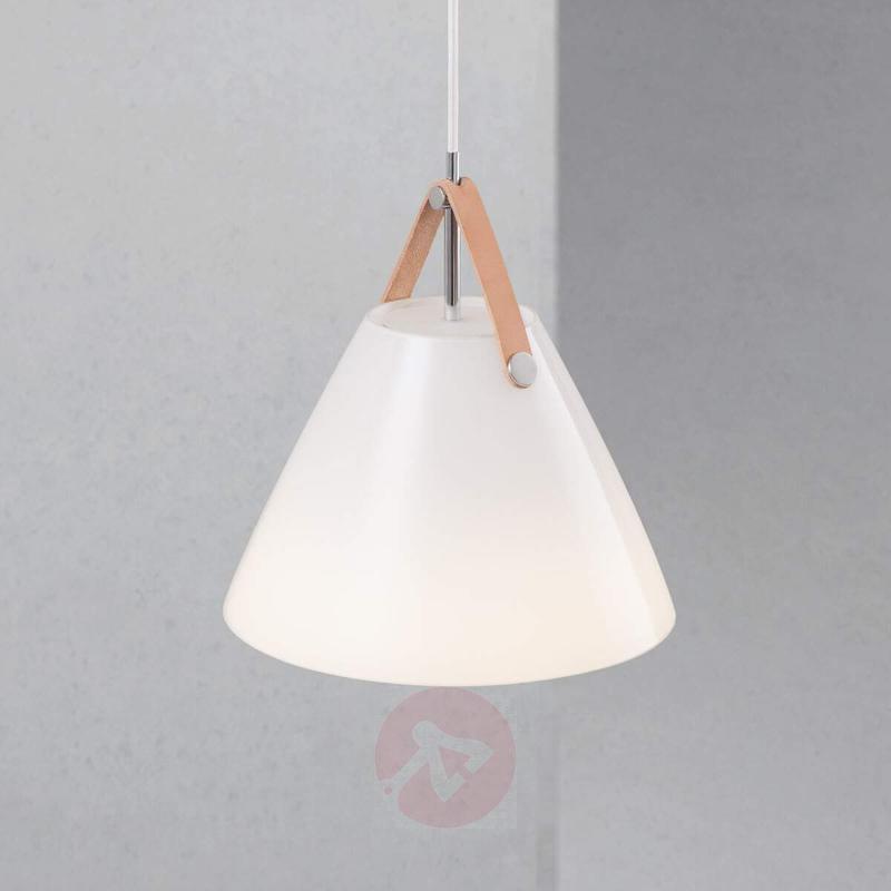 Strap 27 glass pendant light with leather hanger - Pendant Lighting