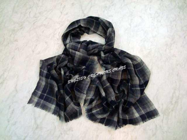 Wool Check and Stripe Scarves	 - Wool Check and Stripe Scarves