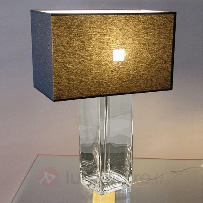 Lampe à poser CATRIN avec pied cristal transparent - Lampes à poser en tissu