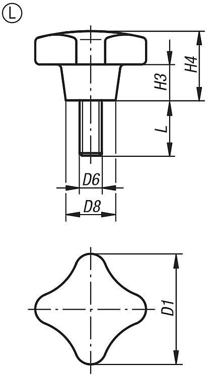 Écrou croisillon similaires à DIN 6335, composants... - Poignées et boutons