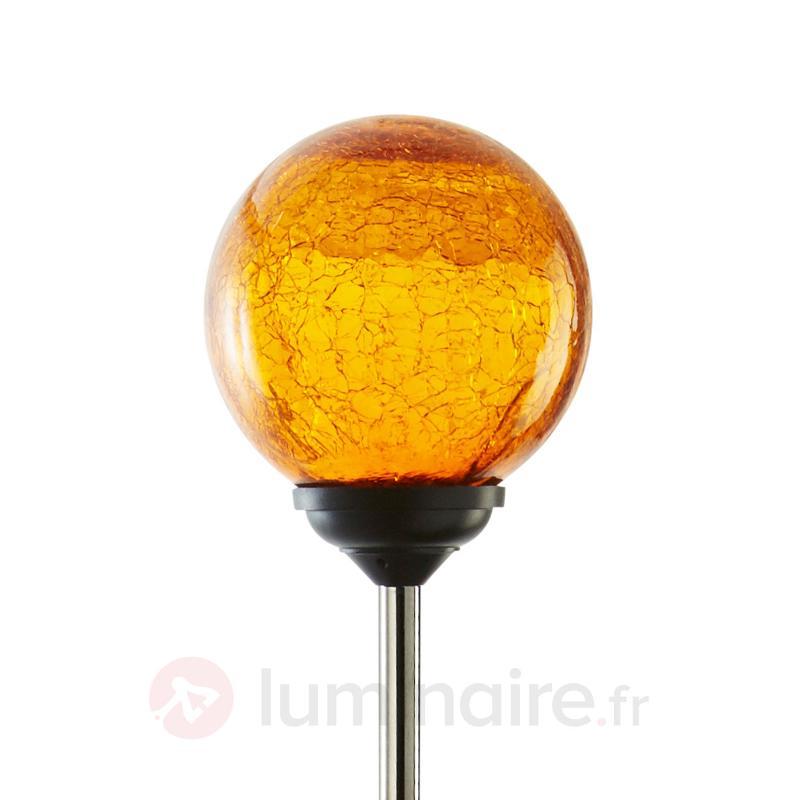 Lampe solaire LED à piquet Roma avec verre orange - Lampes décoratives d'extérieur