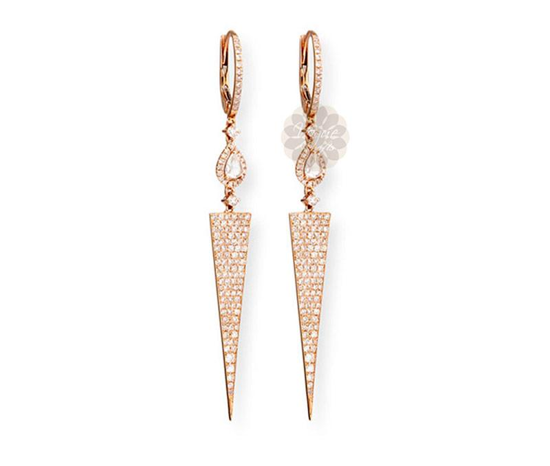 Rose Gold Triangular Dangler Earrings -