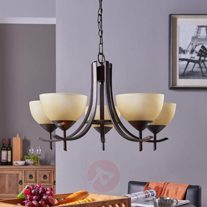 Hanging light Janos with 5 glass shades - Pendant Lighting