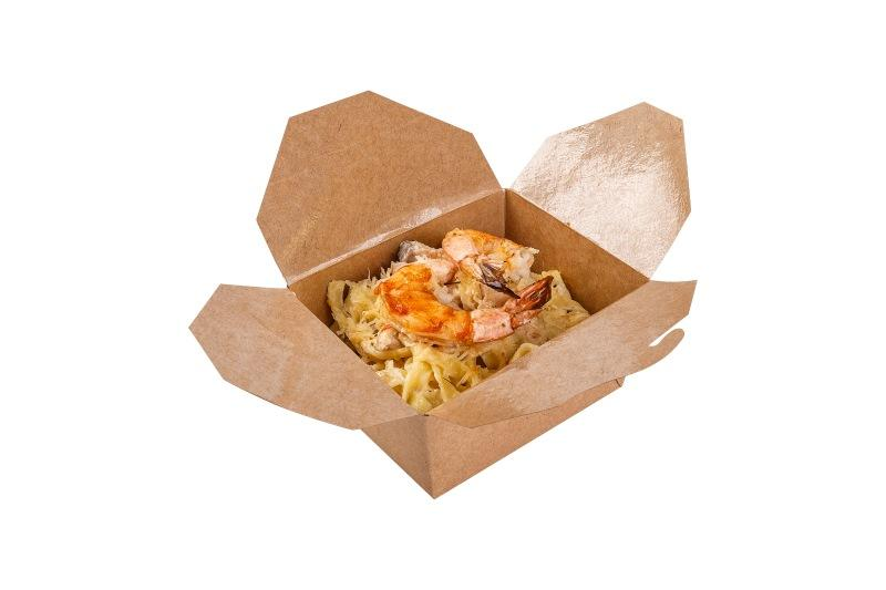 Fold Box «Pure Kraft» (Multipurpose container) - Kraft box for hot food, deep brown colour