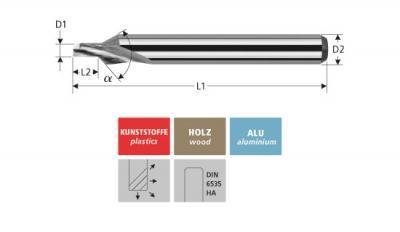 Milling Tools: for plastics - sc milling countersink tool