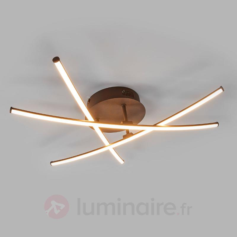 Plafonnier LED couleur rouille Yael à 3 branches - Plafonniers LED