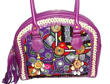 Leather Banjara Handbag Real Hand Embroidery Boho bag - Leather Banjara Boho Bag