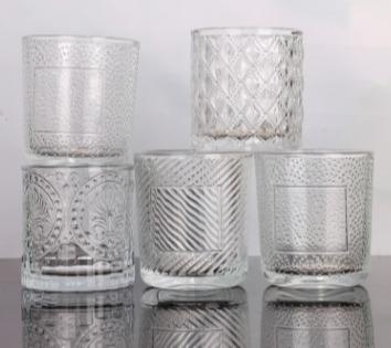 embossed glass candle votive cups -