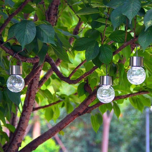 Set of 3 LED solar light set Crackle Ball - Decorative Solar Lights