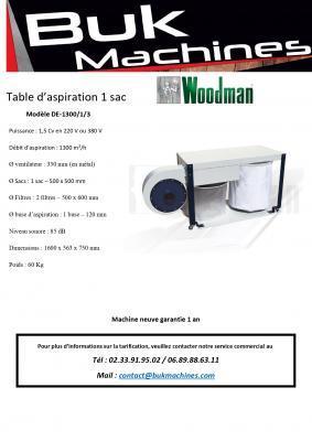 Table d'aspiration 1 sac Woodman - Machine neuve