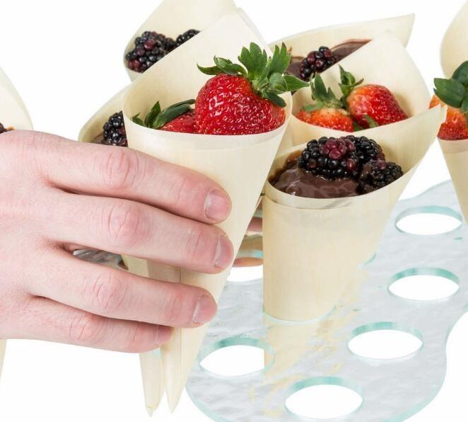 Wood cones - disposable food container/wood cones/wooden roll
