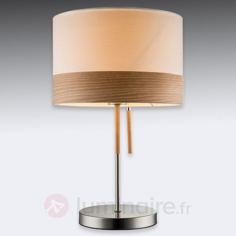 Grosse lampe à poser Libba, bois crème - Lampes à poser en tissu