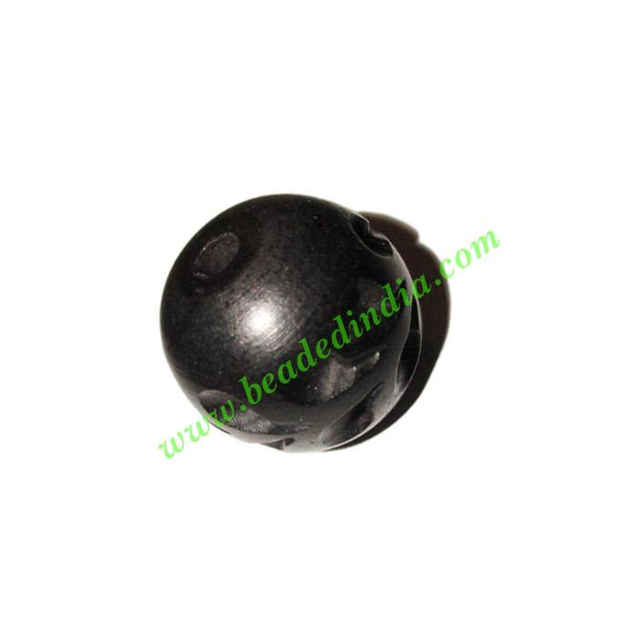 Wooden Ebony Beads, color black, size 22mm, weight approx 7. - Wooden Ebony Beads, color black, size 22mm, weight approx 7.49 grams