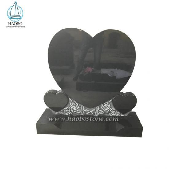 Memorial Heart With Roses Headstone Indian Black Tombstone - Headstone