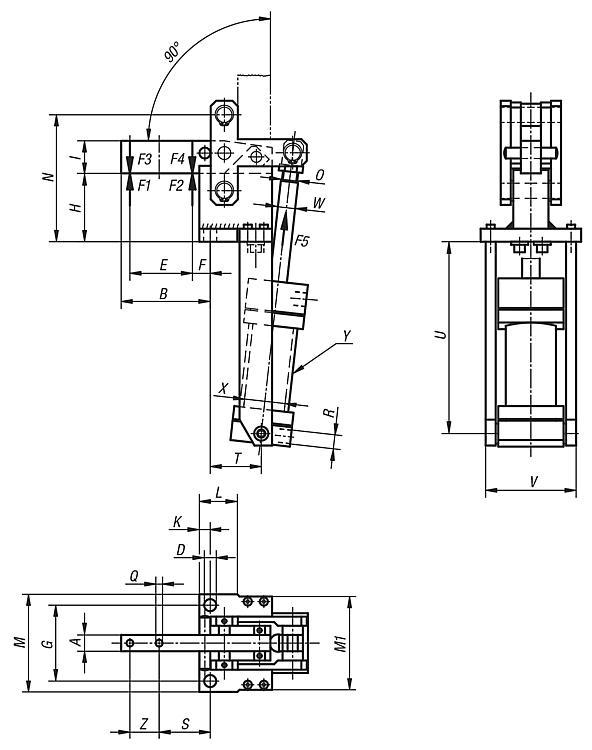 Sauterelle pneumatique verticale avec vérin vertical - Sauterelles pneumatiques