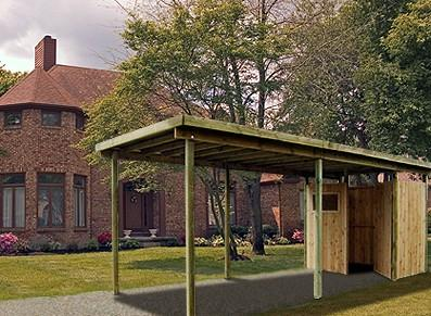 Carport en bois avec atelier toit plat france abris france - Abri de jardin avec carport ...
