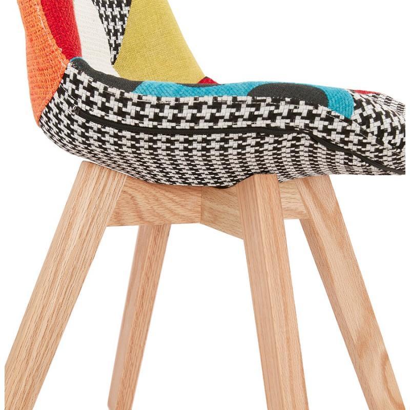 Chaise bohème patchwork en tissu pieds bois MARIKA - Très confortable, cette chaise patchwork offre un charme chic à votre intérieur