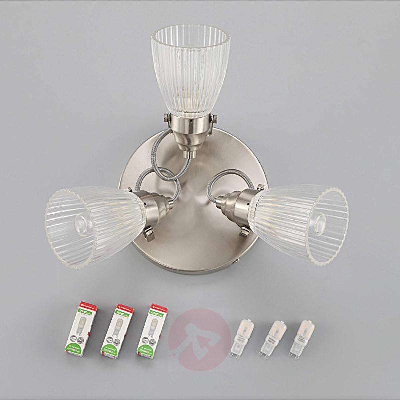 Round LED bathroom ceiling light Kara fluted glass - indoor-lighting