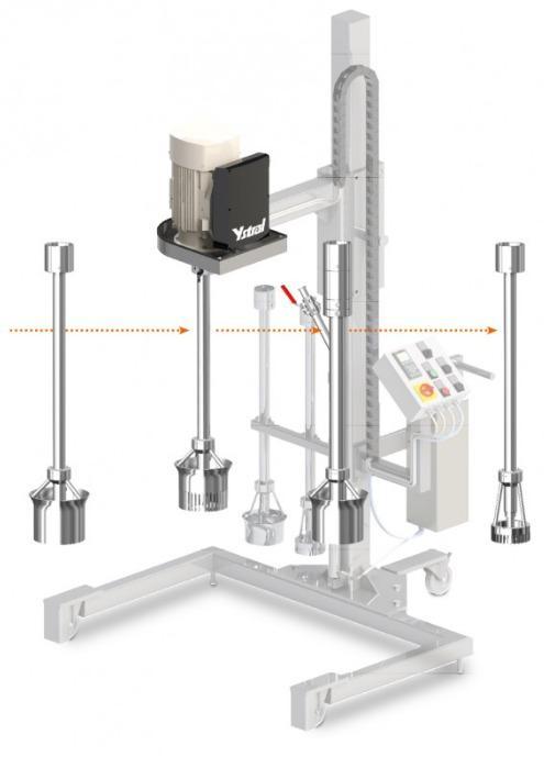 Système d'arbres polyvalent YSTRAL Multipurpose - Arbres porte-outils interchangeables et de mélange-dispersion interchangeables