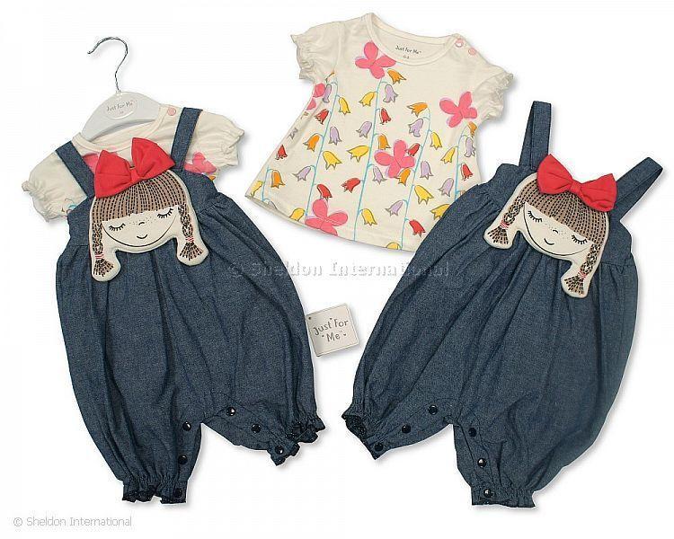 Baby Girls 2 pcs Denim Dungaree Set - Pretty Day Dream - Infant Sets - Summer