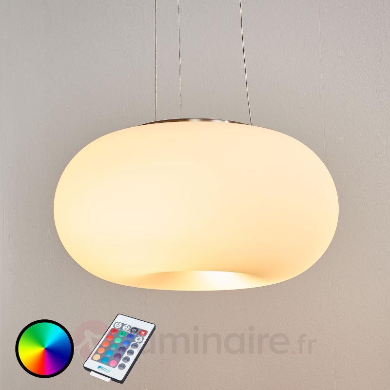 Suspension LED RGBW Optica-C avec télécommande - Suspensions en verre
