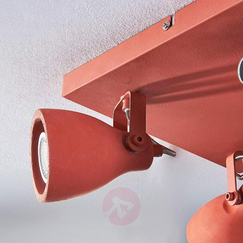 Kadiga - 4-bulb LED ceiling light, red - Ceiling Lights