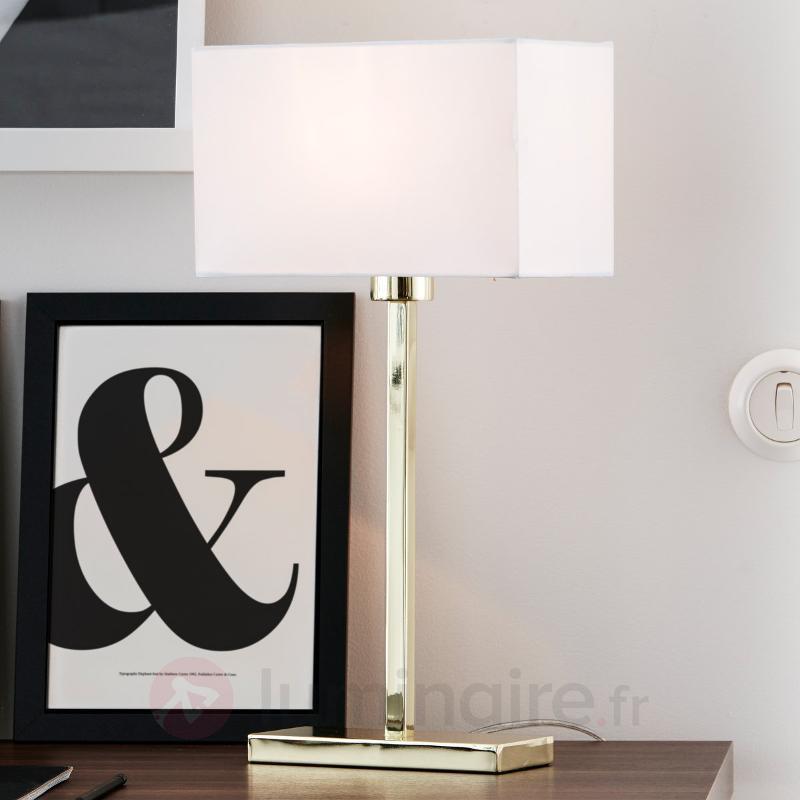 Lampe à poser Savoy USB aux lignes droites - Lampes à poser en tissu