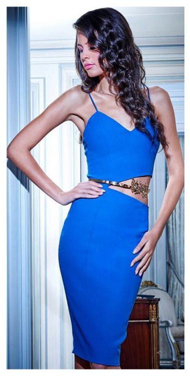 Pencil Crepe Dresses on Cobalt Blue Colour with side cut - Women Crepe Dresses | Evening Dresses in Cobalt blue color
