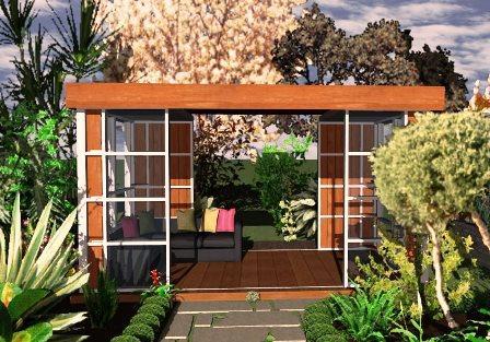 Abri de jardin de moins de 5m2 - Abri avec terrasse couverte de 11m2