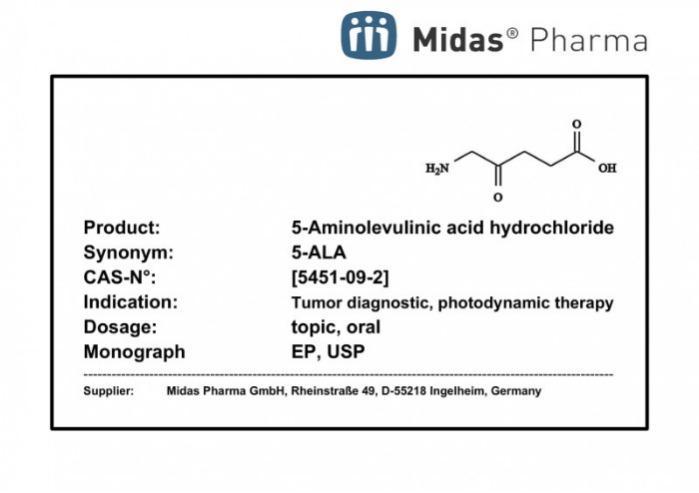 5-Aminolevulinic Acid Hydrochloride - 5-Aminolevulinic  Acid HCl; 5-ALA; Active Pharmaceutical Ingredient; 5451-09-2