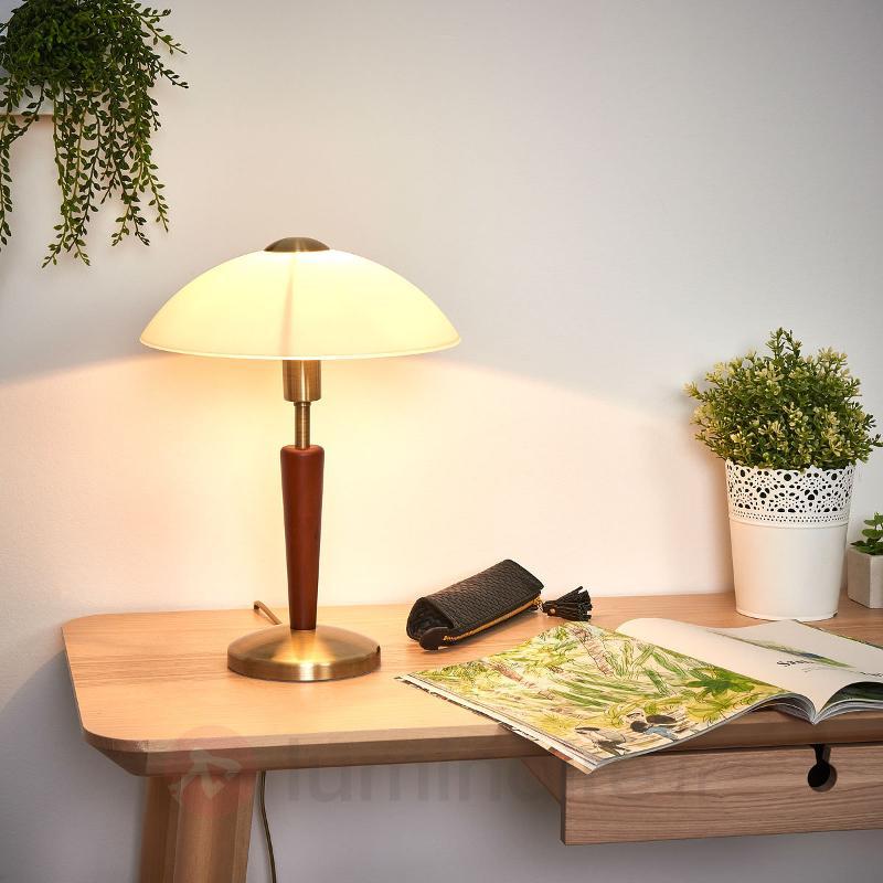 Elégante lampe à poser Salut, bruni, noisette - Lampes de chevet