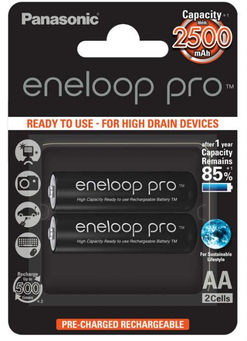 Batterie stilo ricaricabili Eneloop Pro 2pz - BK-3HCDE/2BE | Blister da 2 pile AA Panasonic