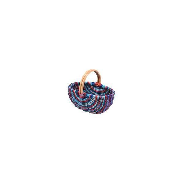 Panier en moelle de rotin dégradé de violet - null