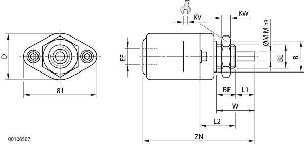 Pneumatikzylinder TYP PZK-G - einfachwirkend